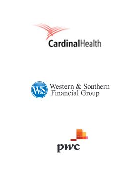 logos for Cardinal Health, Western and Southern Financial Group, and PricewaterhouseCoopers