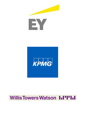logos for EY, KPMG and WillisTowersWatson