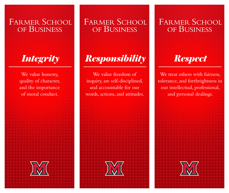 FSB honor code through 3 banner images displaying integrity, respect and responsibility with the following descriptions below each word - Integrity: We value honesty, quality of character, and the importance of moral conduct. Thus, collectively and individually, we act as a moral and model community. Respect: We value the dignity of other persons, the rights and property of others, and the right of others to hold and express disparate beliefs. We treat others with fairness, tolerance, and forthrightness in our intellectual, professional, and personal dealings. Responsibility: We value freedom of inquiry that is the heart of life-long learning and combine that freedom with the exercise of judgment and the acceptance of personal accountability. We hold ourselves and others to high standards of professional and ethical conduct. We strive for excellence in all we do, are self-disciplined, and are accountable for our words, actions, and attitudes.