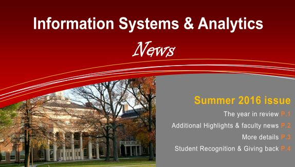 Screenshot of front page of ISA summer 2016 Newsletter - information systems and analytics news