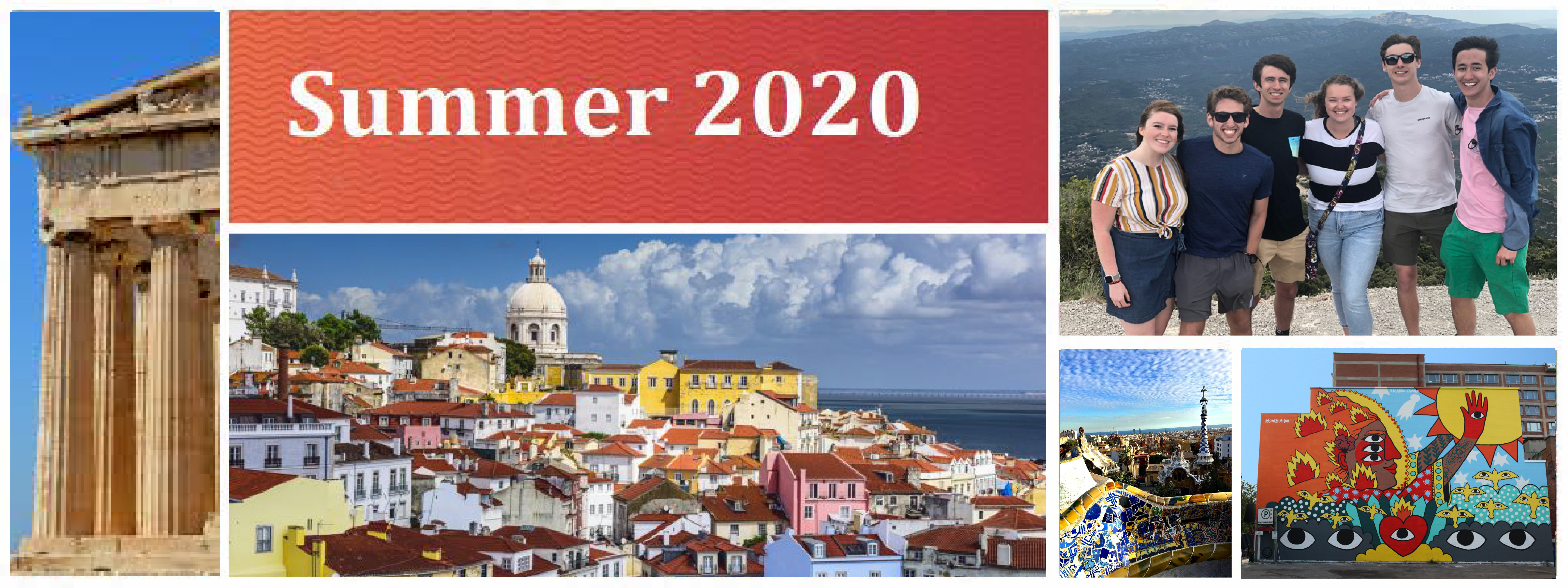 group of pics showing colorful destinations around the world for summer 2020