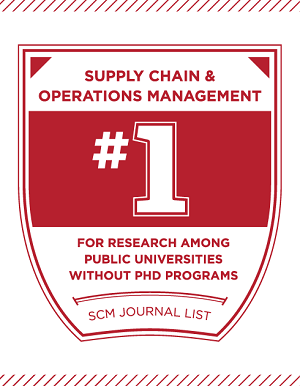 Badge signifying first place in SCM Journal list of top programs