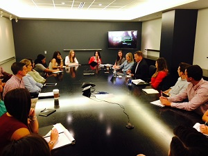 Miami students at conference table at Ad Week event in Chicago