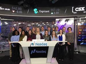 Accountancy student group at NASDAQ