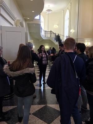Student ambassador talking to prospective students