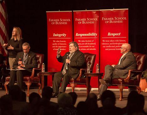 Steve Wozniak on stage at Millett Hall