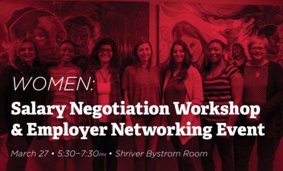 Women negotiating workshop banner