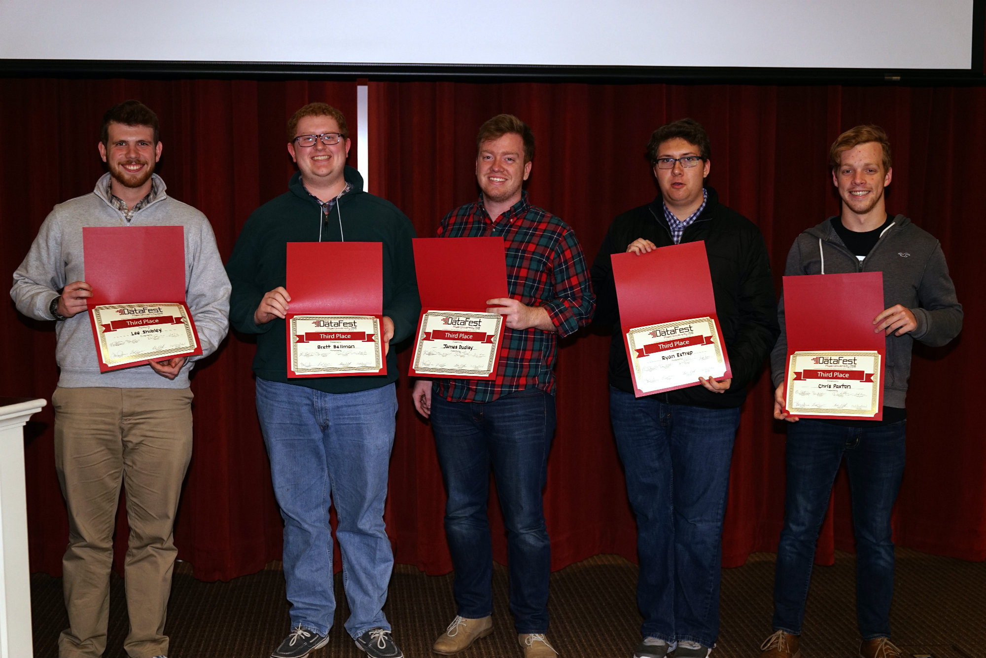 3rd place: Data Diggers -- Jimmy Dudley, Brett Bellman, Ryan Estep, Chris Paxton, Lee Shibley