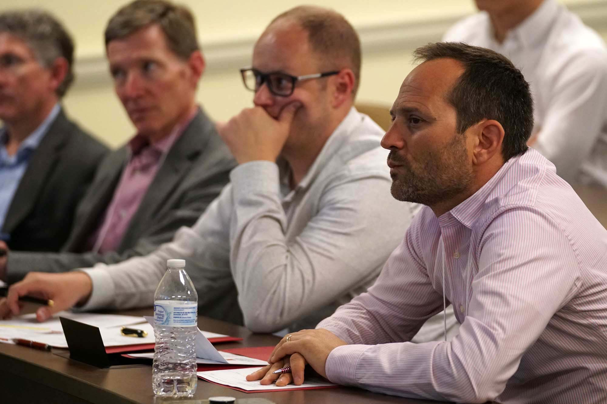 Judges listen to presentation at Startup Pitch Competition