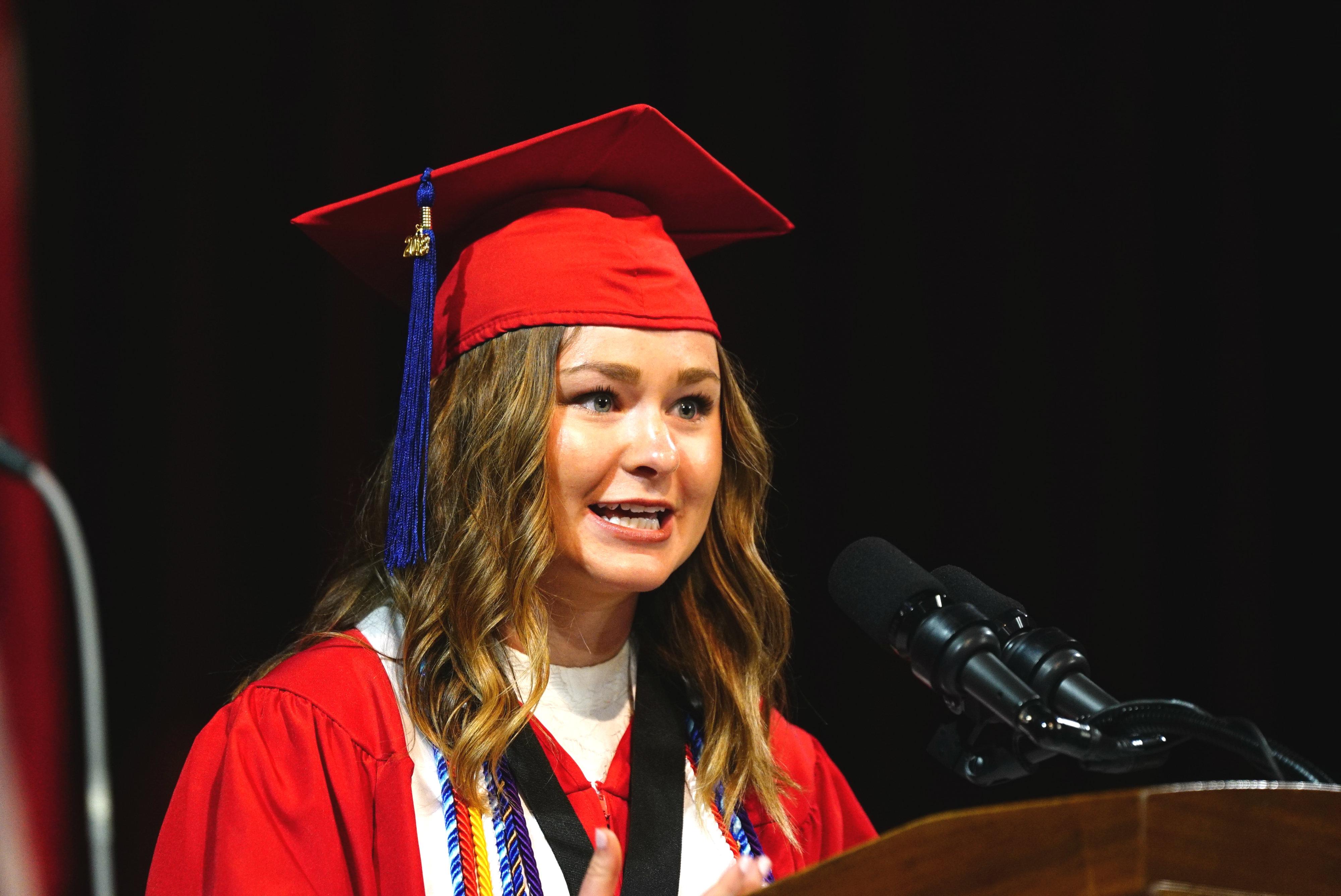 Marilyn Zubak speaks to Farmer School graduates