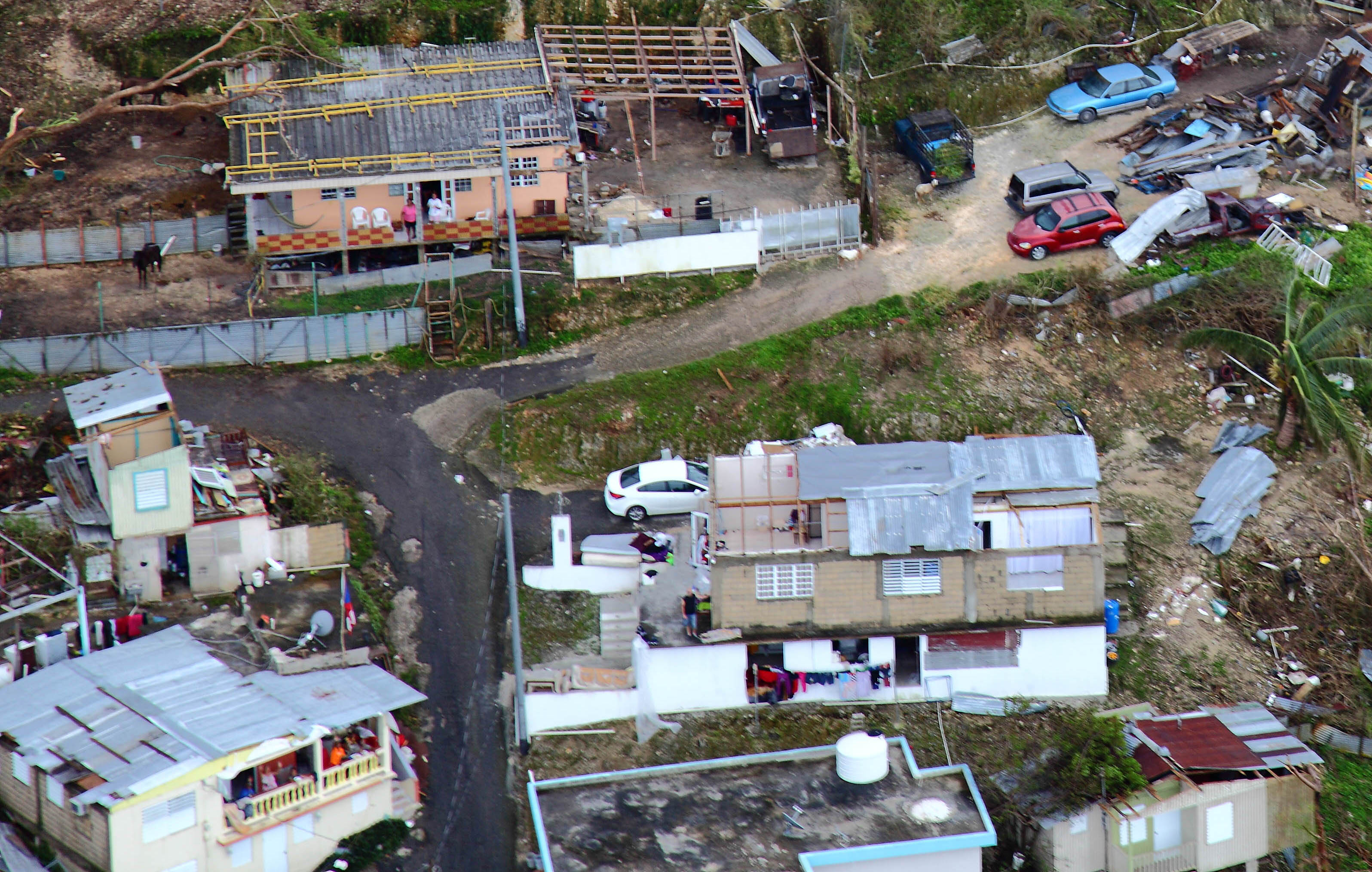 Aerial photo of hurricane damage in Puerto Rico in 2017