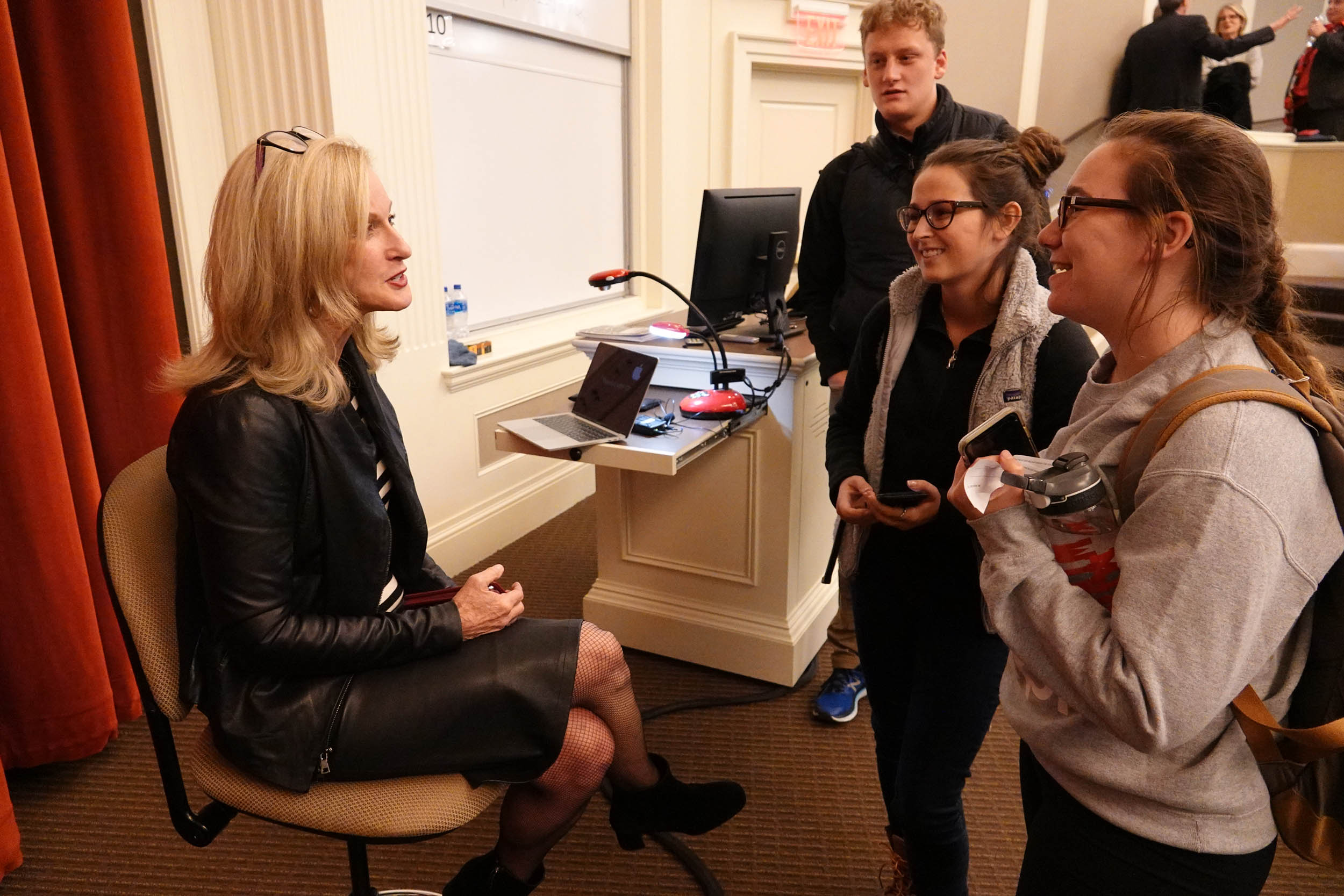 Wendy Lea talks with students after the event