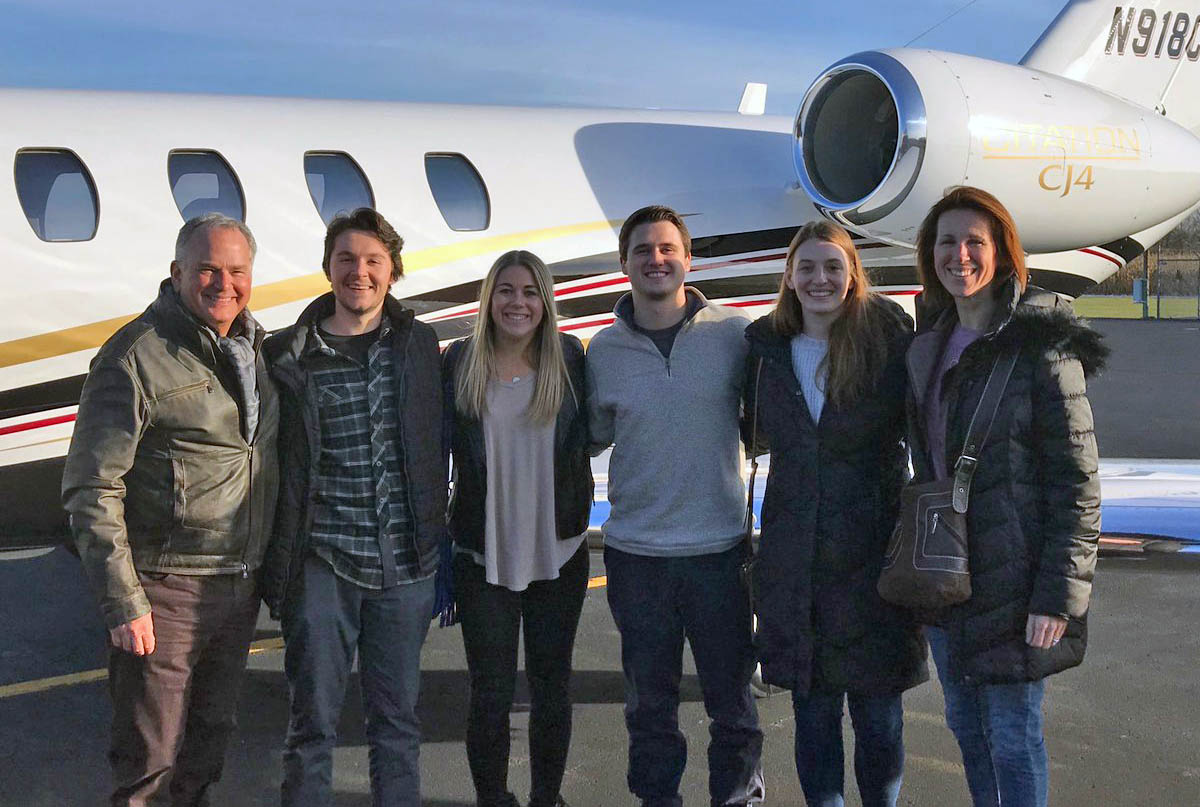The winning team prepares to fly out to Nashville for the night on a Textron Aviation jet
